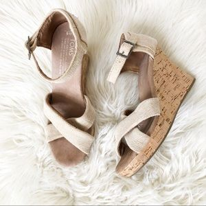 Toms tan  wedges size W6